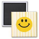 Smiley Face on sunny yellow stripes 2 Inch Square Magnet