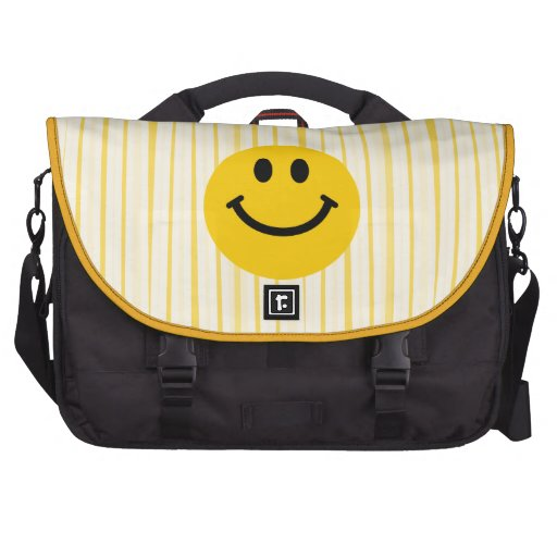 Smiley Face on sunny yellow stripes Bags For Laptop