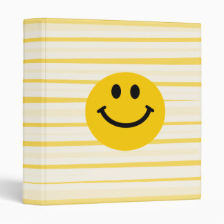 Smiley Face on sunny yellow stripes 3 Ring Binder