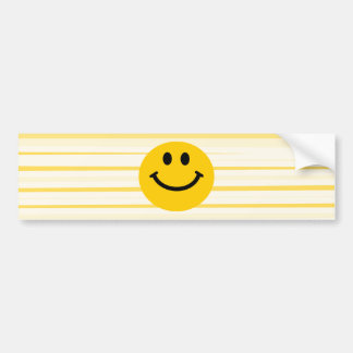Smiley Face on sunny yellow stripes Car Bumper Sticker