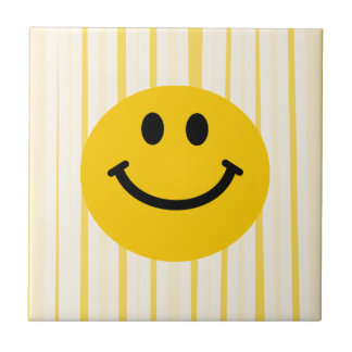 Smiley Face on sunny yellow stripes Ceramic Tile