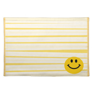 Smiley Face on sunny yellow stripes Cloth Placemat