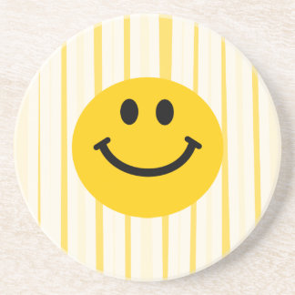 Smiley Face on sunny yellow stripes Drink Coaster