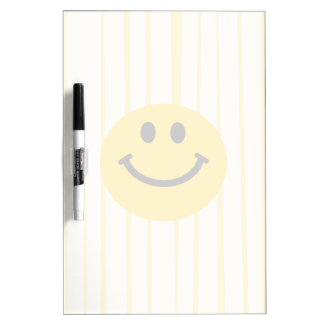 Smiley Face on sunny yellow stripes Dry-Erase Whiteboards