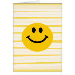 Smiley Face on sunny yellow stripes Greeting Card