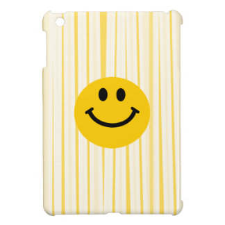Smiley Face on sunny yellow stripes Cover For The iPad Mini