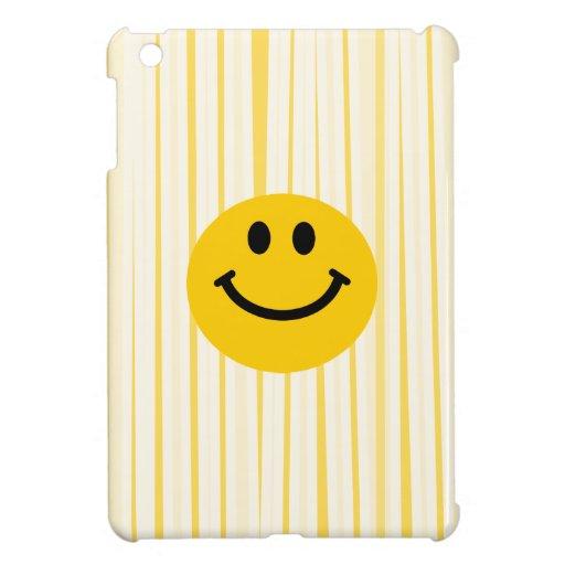 Smiley Face on sunny yellow stripes iPad Mini Case