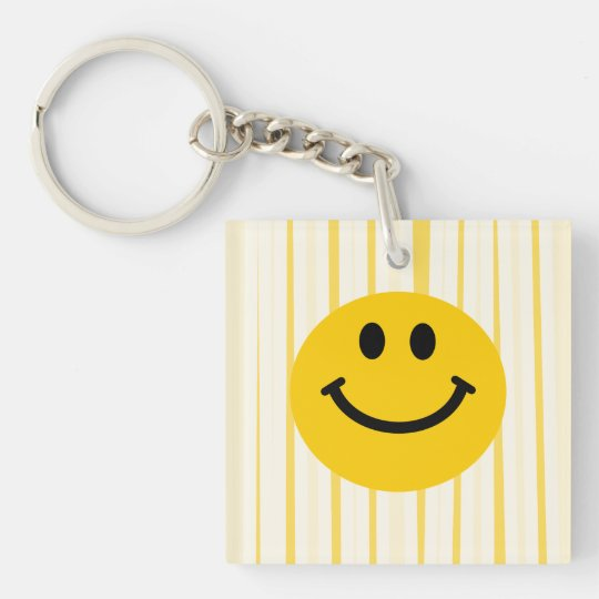 Smiley Face on sunny yellow stripes Keychain