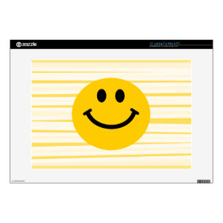 Smiley Face on sunny yellow stripes Laptop Decal