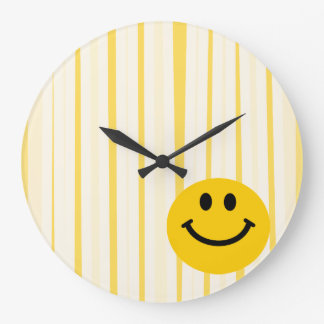 Smiley Face on sunny yellow stripes Large Clock