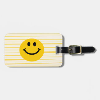 Smiley Face on sunny yellow stripes Luggage Tag