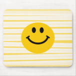 Smiley Face on sunny yellow stripes Mouse Pad