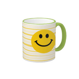 Smiley Face on sunny yellow stripes Coffee Mug