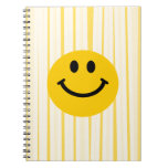 Smiley Face on sunny yellow stripes Spiral Notebook
