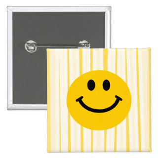 Smiley Face on sunny yellow stripes Pinback Button