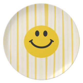 Smiley Face on sunny yellow stripes Party Plates