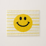 Smiley Face on sunny yellow stripes Puzzle