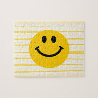 Smiley Face on sunny yellow stripes Jigsaw Puzzles