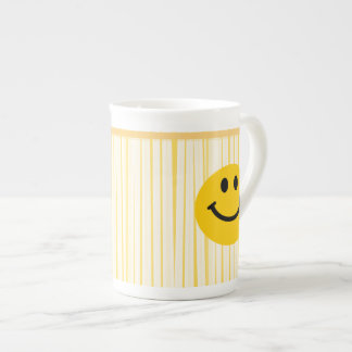 Smiley Face on sunny yellow stripes Tea Cup