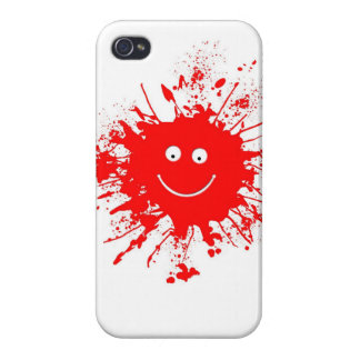 Smiley Face Paint Splash Cases For iPhone 4