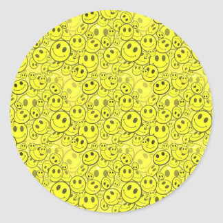 smiley face pattern classic round sticker