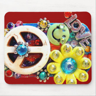 Smiley Face Peace sign Abstract retro Love Mouse Pad