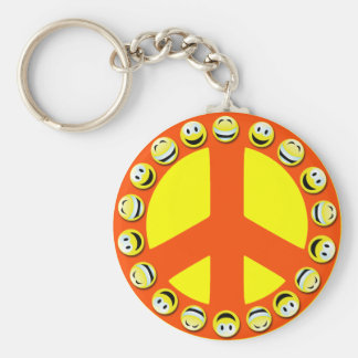 SMILEY FACE PEACE SIGN BASIC ROUND BUTTON KEYCHAIN