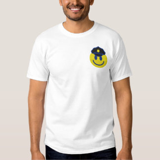 Smiley Face Police Officer Embroidered T-Shirt