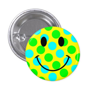 Smiley Face Polka Dots Pinback Button