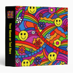 Smiley Face Rainbow and Flower Hippy Pattern 3 Ring Binder