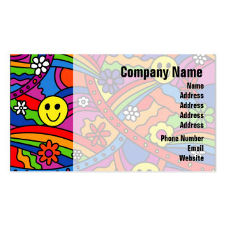 Smiley Face Rainbow and Flower Hippy Pattern Business Card