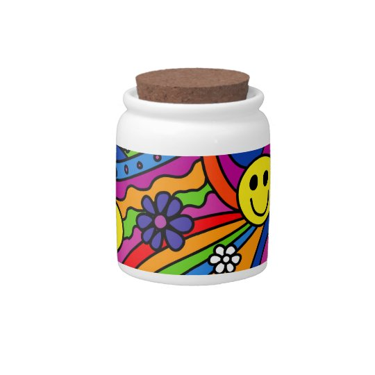 Smiley Face Rainbow and Flower Hippy Pattern Candy Jar