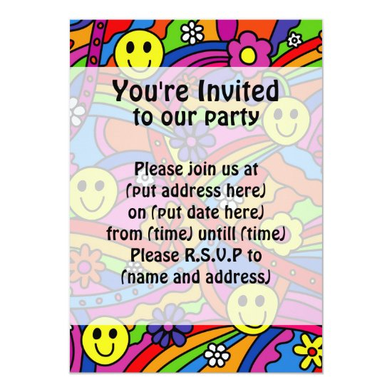 Smiley Face Rainbow and Flower Hippy Pattern Card