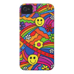 Smiley Face Rainbow and Flower Hippy Pattern Case-Mate iPhone 4 Cases