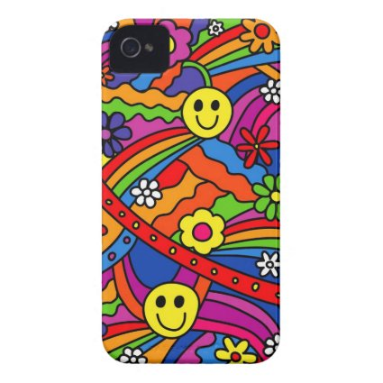 Smiley Face Rainbow and Flower Hippy Pattern iPhone 4 Case-Mate Cases