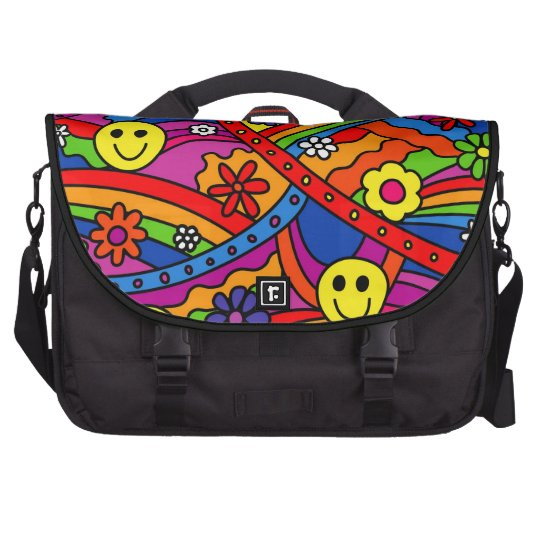 Smiley Face Rainbow and Flower Hippy Pattern Commuter Bag