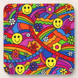 Smiley Face Rainbow and Flower Hippy Pattern Beverage Coaster