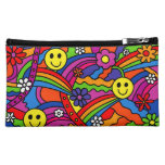 Smiley Face Rainbow and Flower Hippy Pattern Cosmetic Bag