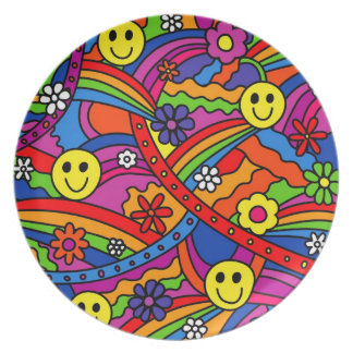 Smiley Face Rainbow and Flower Hippy Pattern Dinner Plate