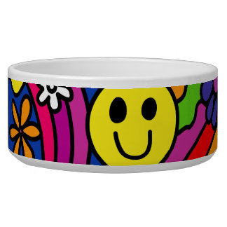 Smiley Face Rainbow and Flower Hippy Pattern Dog Food Bowl