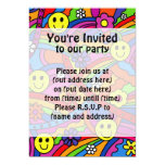 Smiley Face Rainbow and Flower Hippy Pattern 5x7 Paper Invitation Card