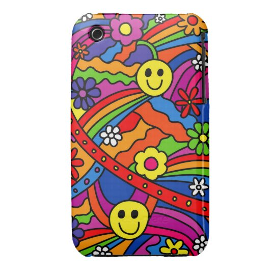 Smiley Face Rainbow and Flower Hippy Pattern iPhone 3 Cover