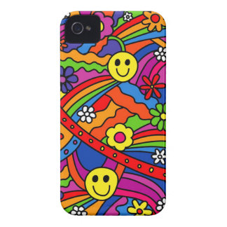 Smiley Face Rainbow and Flower Hippy Pattern iPhone 4 Case-Mate Case