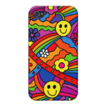Smiley Face Rainbow and Flower Hippy Pattern iPhone 4 Cases