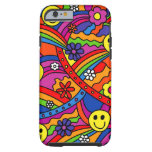 Smiley Face Rainbow and Flower Hippy Pattern iPhone 6 Case