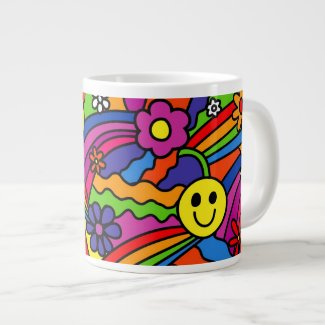 Smiley Face Rainbow and Flower Hippy Pattern Large Coffee Mug