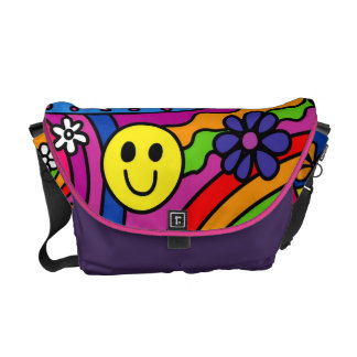 Smiley Face Rainbow and Flower Hippy Pattern Courier Bag