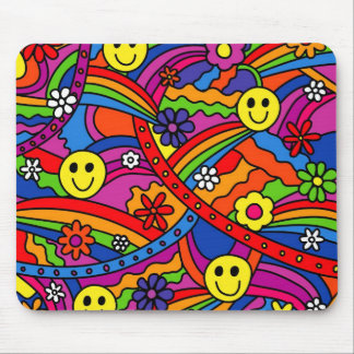 Smiley Face Rainbow and Flower Hippy Pattern Mouse Pad