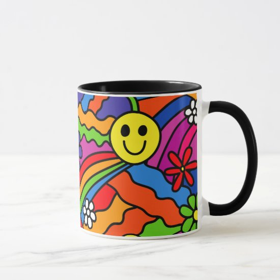 Smiley Face Rainbow and Flower Hippy Pattern Mug