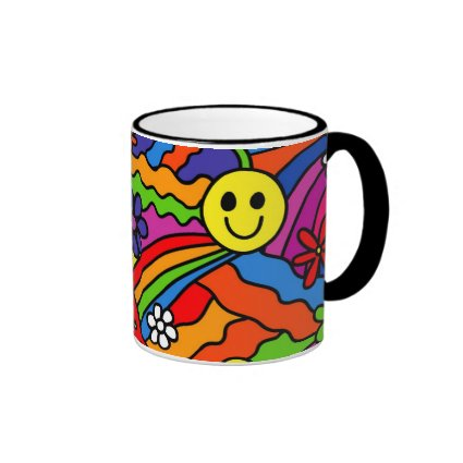 Smiley Face Rainbow and Flower Hippy Pattern Ringer Coffee Mug
